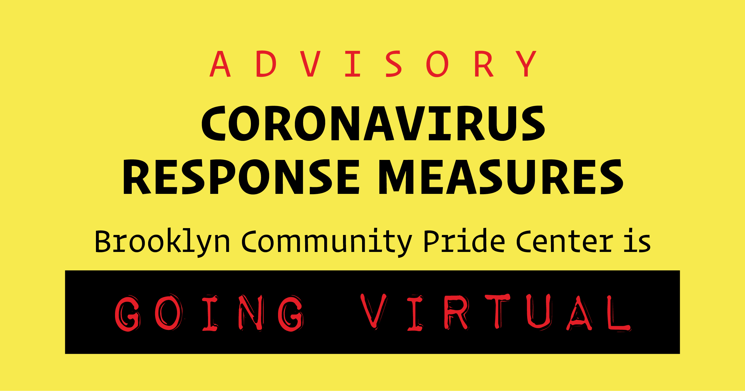 Coronavirus Response Measures for Brooklyn Community Pride Center